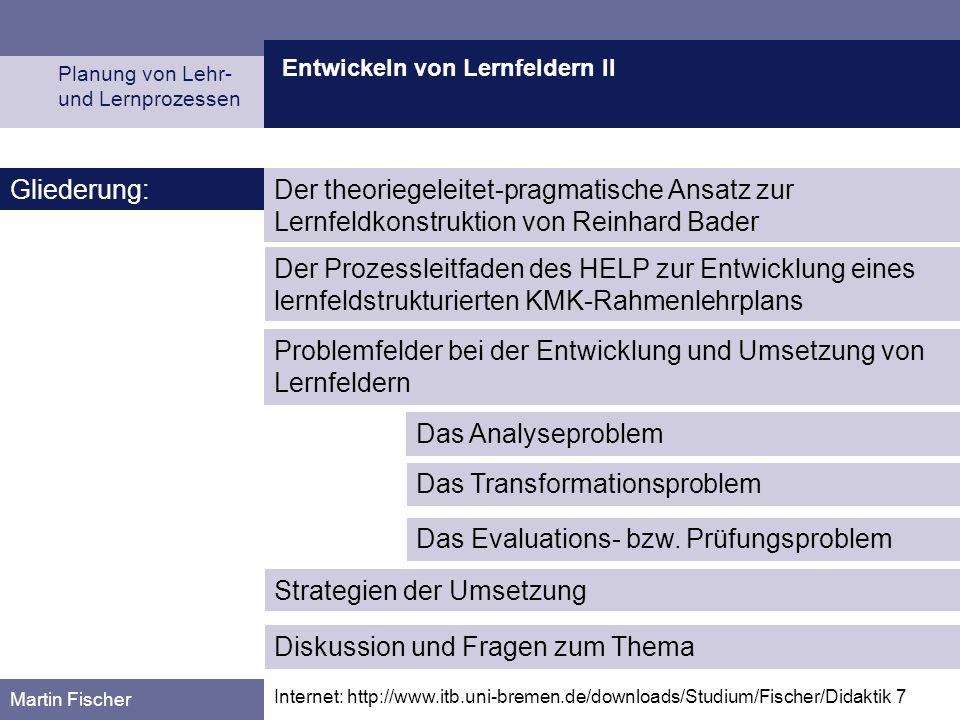 Entwickeln von Lernfeldern II Planung von Lehr- und Lernprozessen Martin Fischer Internet: http://www.itb.uni-bremen.de/downloads/Studium/Fischer/Dida