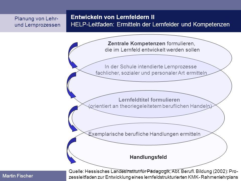 Entwickeln von Lernfeldern II HELP-Leitfaden: Ermitteln der Lernfelder und Kompetenzen Planung von Lehr- und Lernprozessen Martin Fischer Handlungsfel