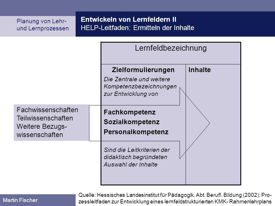 Entwickeln von Lernfeldern II HELP-Leitfaden: Ermitteln der Inhalte Planung von Lehr- und Lernprozessen Martin Fischer InhalteZielformulierungen Die Z