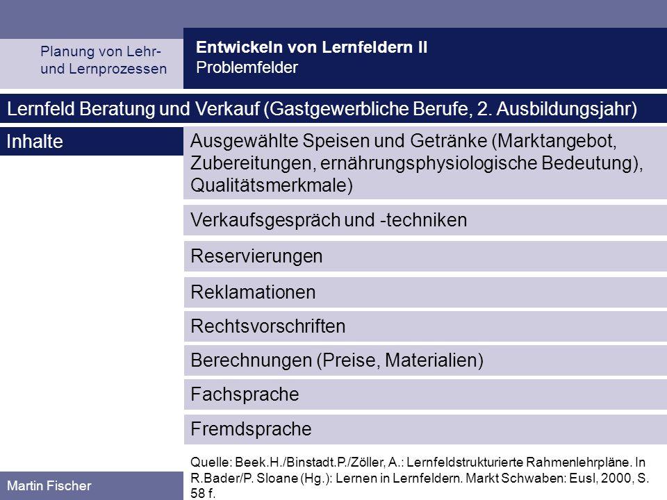 Entwickeln von Lernfeldern II Problemfelder Planung von Lehr- und Lernprozessen Martin Fischer Verkaufsgespräch und -techniken Lernfeld Beratung und Verkauf (Gastgewerbliche Berufe, 2.