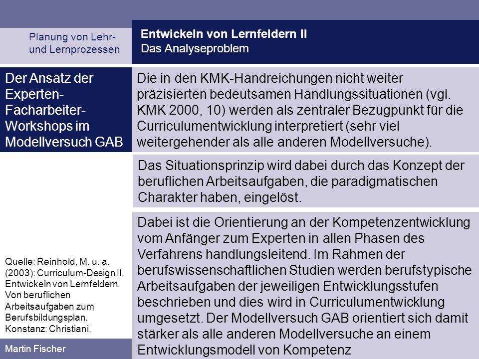 Entwickeln von Lernfeldern II Das Analyseproblem Planung von Lehr- und Lernprozessen Martin Fischer Der Ansatz der Experten- Facharbeiter- Workshops i