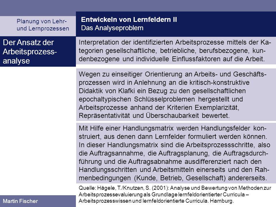 Entwickeln von Lernfeldern II Das Analyseproblem Planung von Lehr- und Lernprozessen Martin Fischer Der Ansatz der Arbeitsprozess- analyse Interpretat