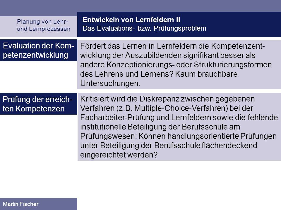 Entwickeln von Lernfeldern II Das Evaluations- bzw. Prüfungsproblem Planung von Lehr- und Lernprozessen Martin Fischer Evaluation der Kom- petenzentwi
