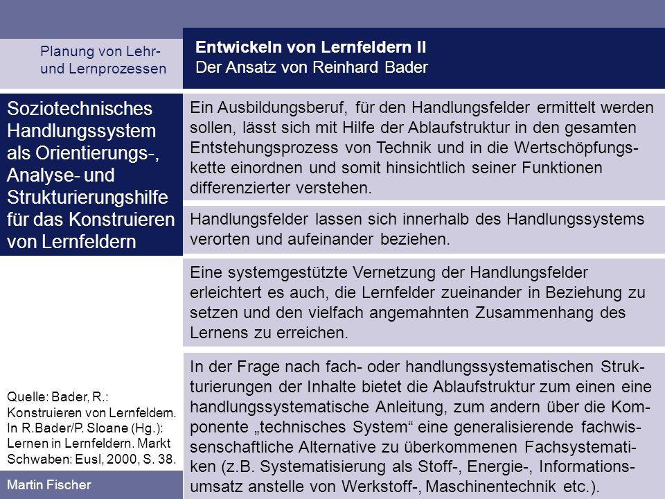 Entwickeln von Lernfeldern II Prozessleitfaden des HELP Planung von Lehr- und Lernprozessen Martin Fischer Quelle: Hessisches Landesinstitut für Pädagogik, Abt.