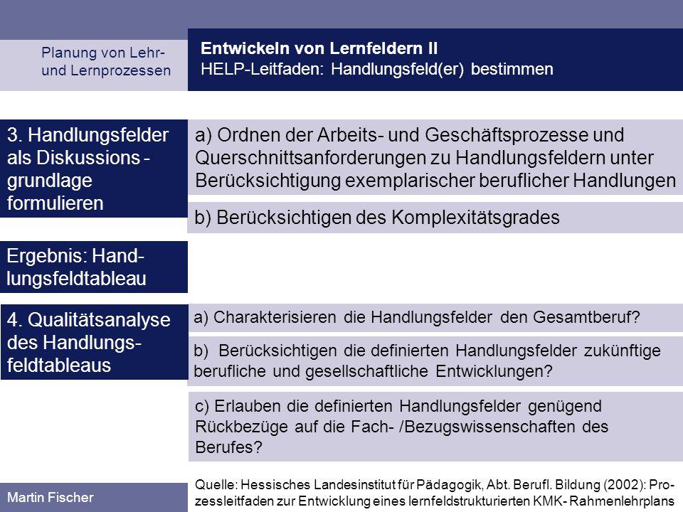 Entwickeln von Lernfeldern II HELP-Leitfaden: Handlungsfeld(er) bestimmen Planung von Lehr- und Lernprozessen Martin Fischer b) Berücksichtigen des Ko