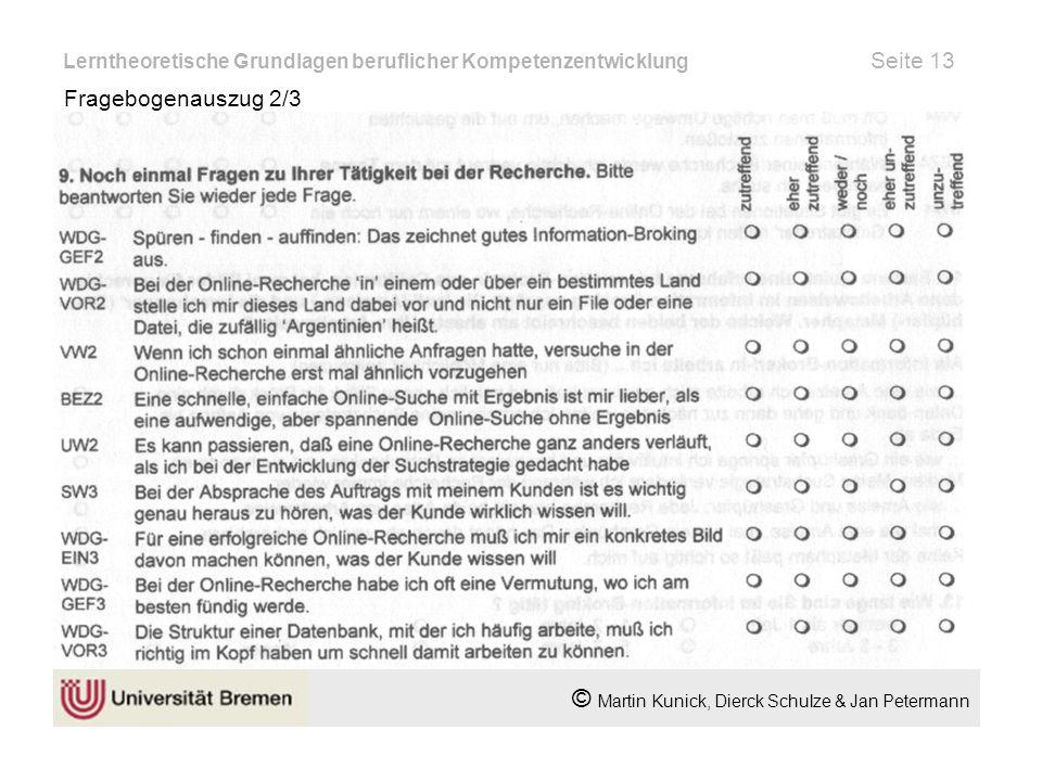 Lerntheoretische Grundlagen beruflicher Kompetenzentwicklung Seite 13 Fragebogenauszug 2/3 © Martin Kunick, Dierck Schulze & Jan Petermann