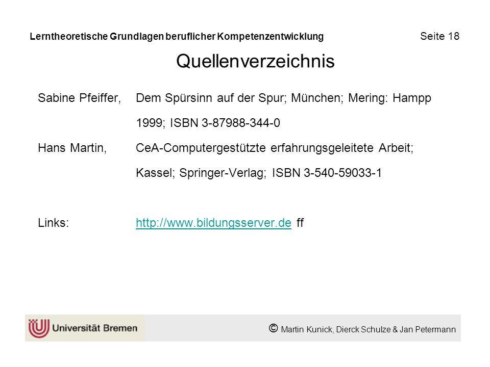 Quellenverzeichnis Sabine Pfeiffer, Dem Spürsinn auf der Spur; München; Mering: Hampp 1999; ISBN 3-87988-344-0 Hans Martin,CeA-Computergestützte erfah
