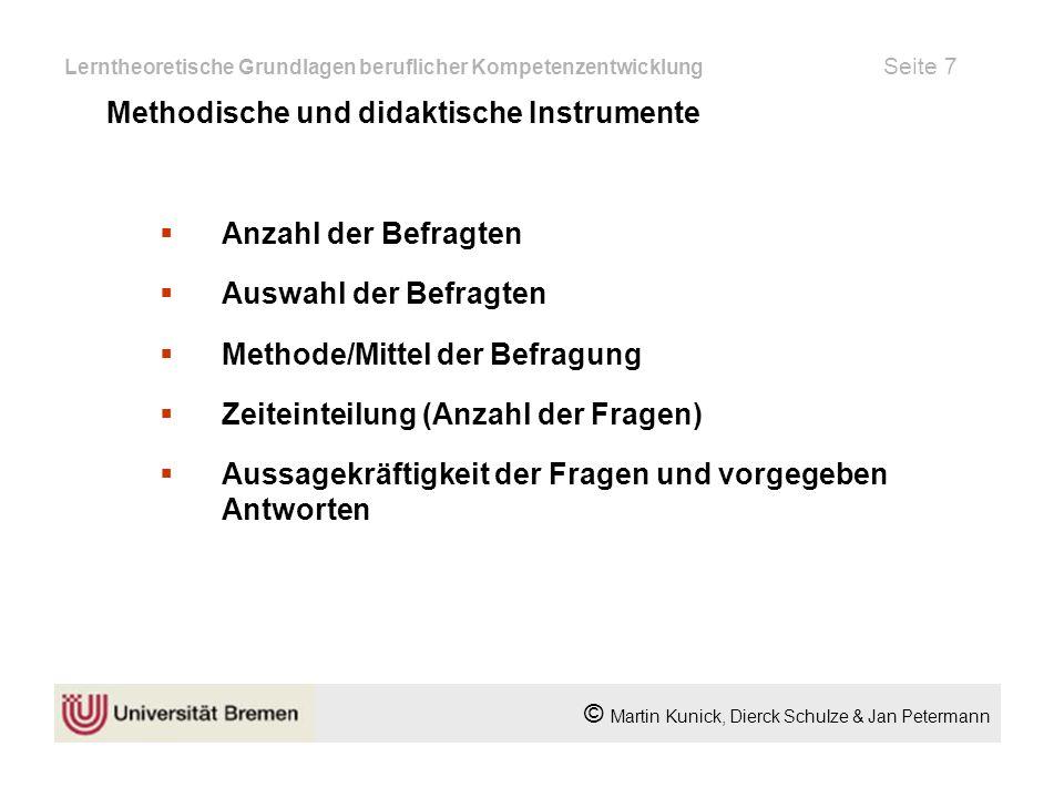 Quellenverzeichnis Sabine Pfeiffer, Dem Spürsinn auf der Spur; München; Mering: Hampp 1999; ISBN 3-87988-344-0 Hans Martin,CeA-Computergestützte erfahrungsgeleitete Arbeit; Kassel; Springer-Verlag; ISBN 3-540-59033-1 Links:http://www.bildungsserver.de ffhttp://www.bildungsserver.de © Martin Kunick, Dierck Schulze & Jan Petermann Lerntheoretische Grundlagen beruflicher Kompetenzentwicklung Seite 18