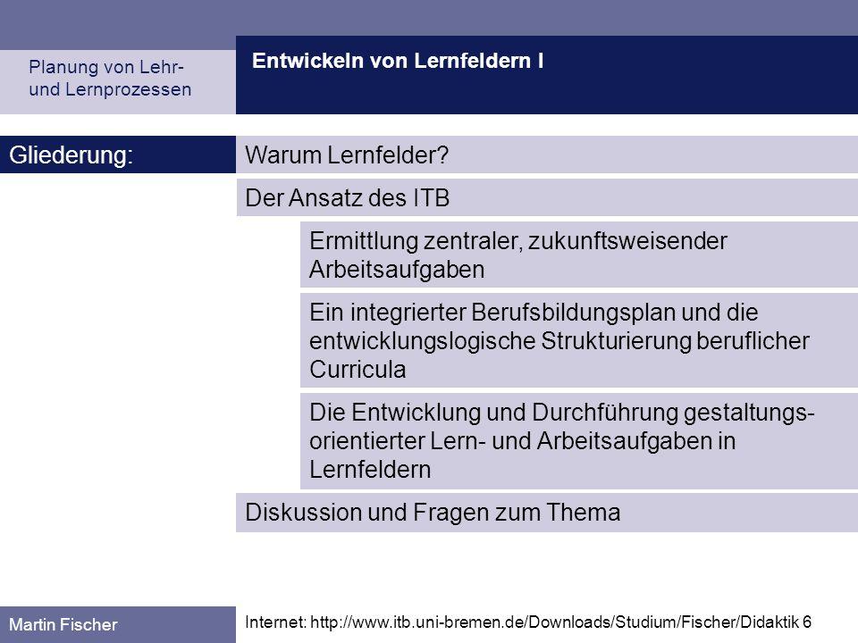 Entwickeln von Lernfeldern I Planung von Lehr- und Lernprozessen Martin Fischer Internet: http://www.itb.uni-bremen.de/Downloads/Studium/Fischer/Didak