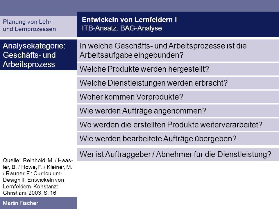 Entwickeln von Lernfeldern I ITB-Ansatz: BAG-Analyse Planung von Lehr- und Lernprozessen Martin Fischer In welche Geschäfts- und Arbeitsprozesse ist d