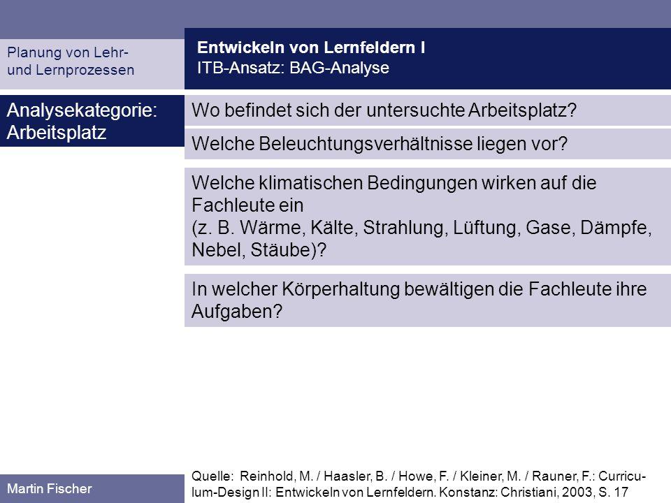 Entwickeln von Lernfeldern I ITB-Ansatz: BAG-Analyse Planung von Lehr- und Lernprozessen Martin Fischer Wo befindet sich der untersuchte Arbeitsplatz?