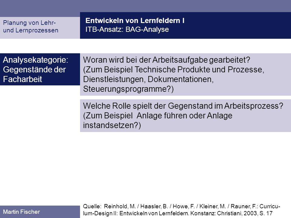 Entwickeln von Lernfeldern I ITB-Ansatz: BAG-Analyse Planung von Lehr- und Lernprozessen Martin Fischer Woran wird bei der Arbeitsaufgabe gearbeitet?