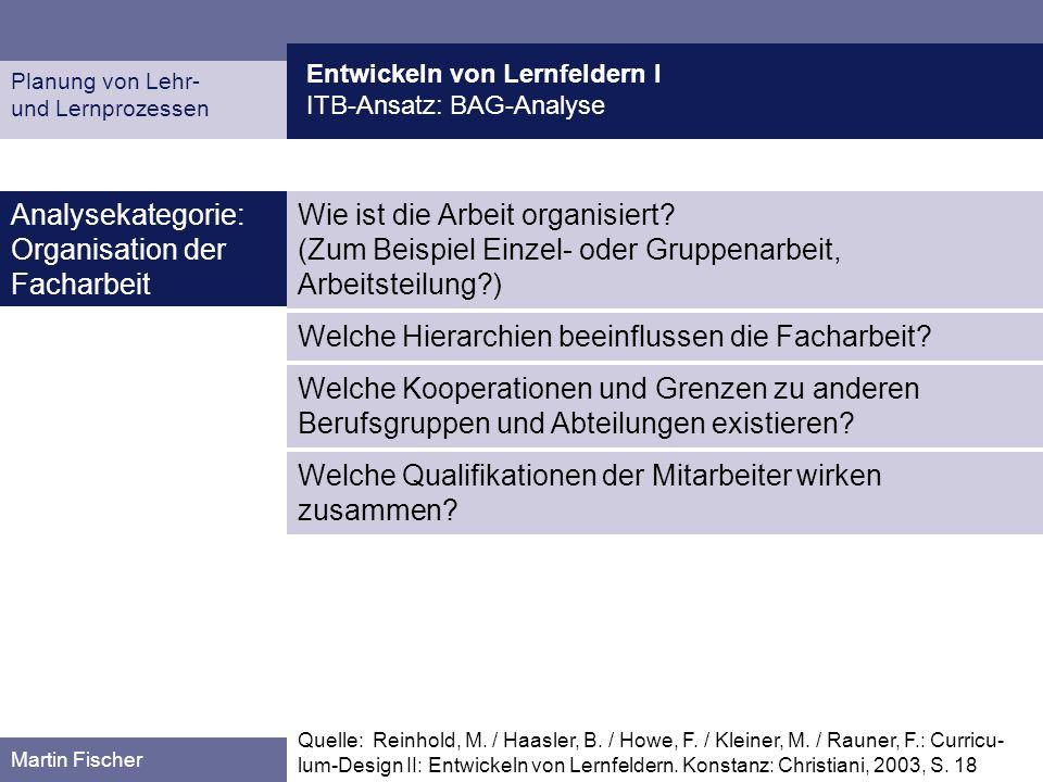 Entwickeln von Lernfeldern I ITB-Ansatz: BAG-Analyse Planung von Lehr- und Lernprozessen Martin Fischer Wie ist die Arbeit organisiert? (Zum Beispiel