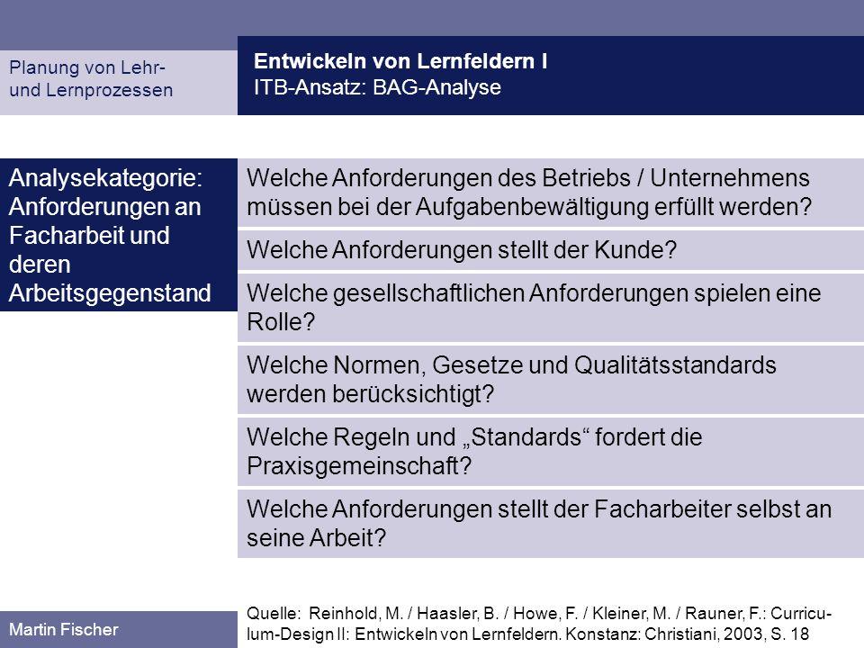 Entwickeln von Lernfeldern I ITB-Ansatz: BAG-Analyse Planung von Lehr- und Lernprozessen Martin Fischer Welche Anforderungen des Betriebs / Unternehme