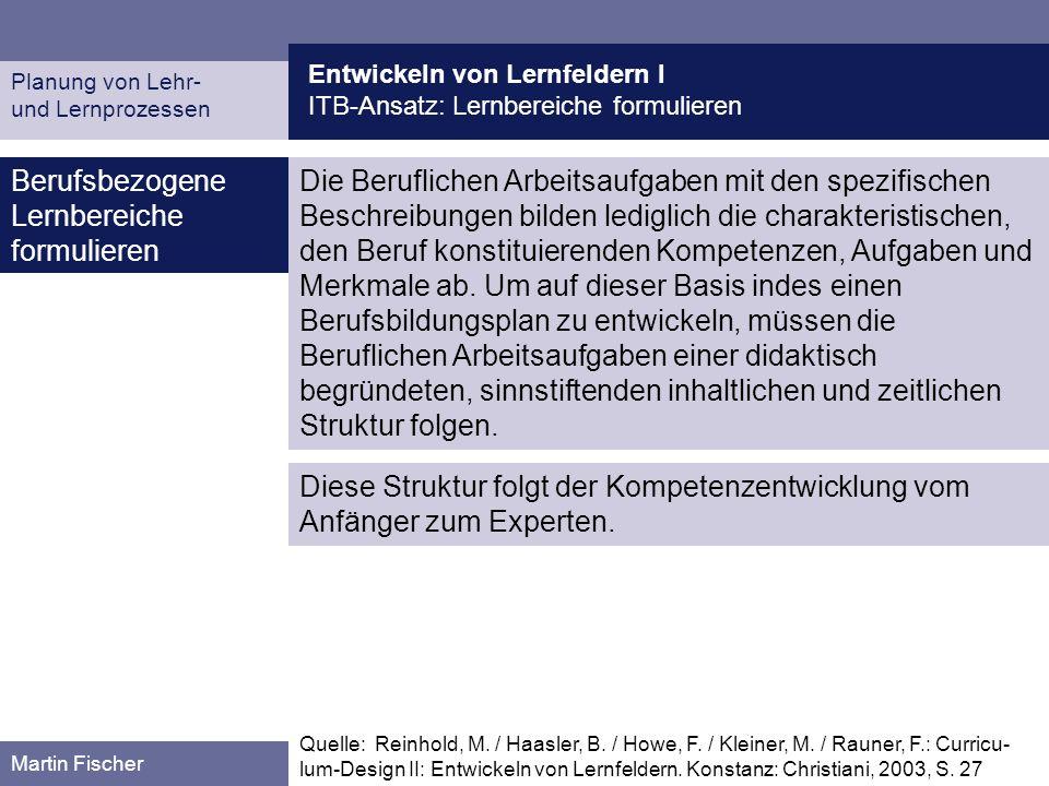 Entwickeln von Lernfeldern I ITB-Ansatz: Lernbereiche formulieren Planung von Lehr- und Lernprozessen Martin Fischer Berufsbezogene Lernbereiche formu