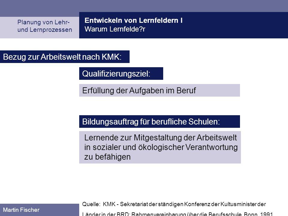 Entwickeln von Lernfeldern I Warum Lernfelde?r Planung von Lehr- und Lernprozessen Martin Fischer Quelle: KMK - Sekretariat der ständigen Konferenz de