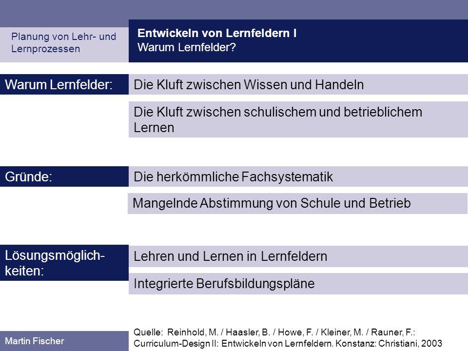 Entwickeln von Lernfeldern I Warum Lernfelder? Planung von Lehr- und Lernprozessen Martin Fischer Quelle: Reinhold, M. / Haasler, B. / Howe, F. / Klei