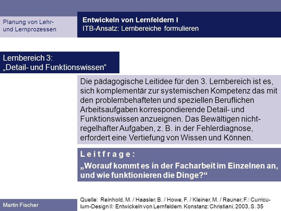 Entwickeln von Lernfeldern I ITB-Ansatz: Lernbereiche formulieren Planung von Lehr- und Lernprozessen Martin Fischer Lernbereich 3: Detail- und Funkti
