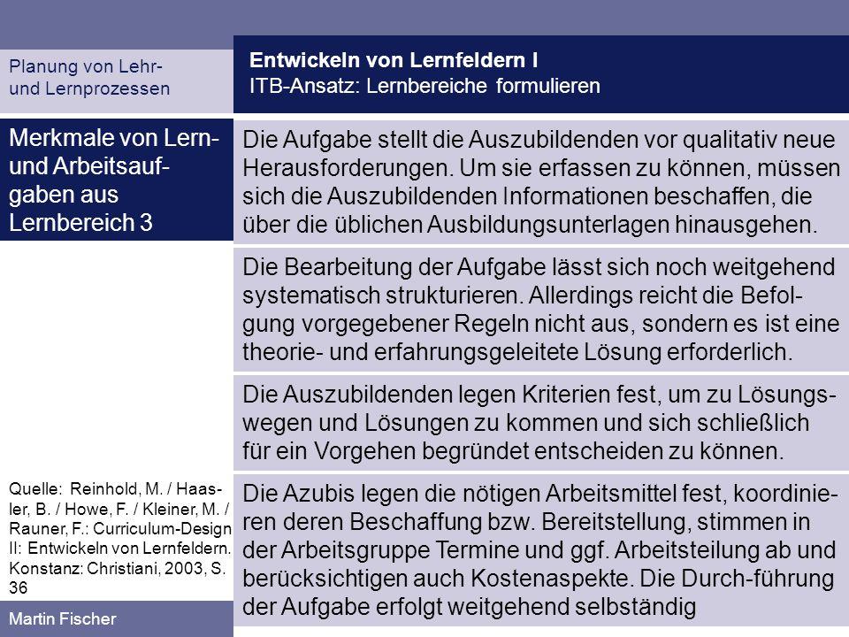 Entwickeln von Lernfeldern I ITB-Ansatz: Lernbereiche formulieren Planung von Lehr- und Lernprozessen Martin Fischer Merkmale von Lern- und Arbeitsauf