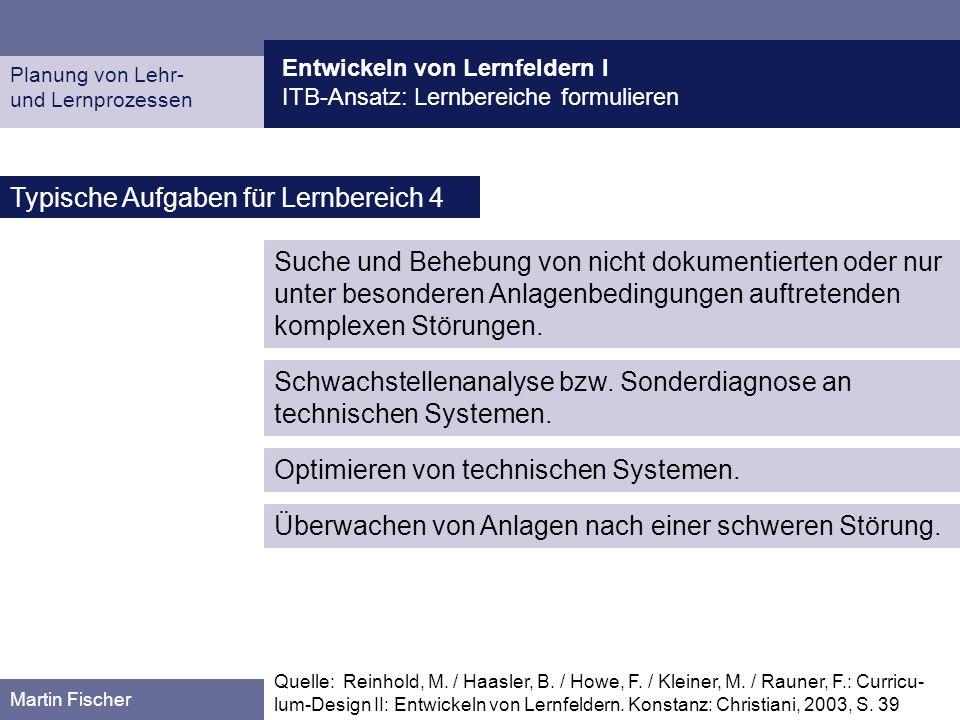 Entwickeln von Lernfeldern I ITB-Ansatz: Lernbereiche formulieren Planung von Lehr- und Lernprozessen Martin Fischer Typische Aufgaben für Lernbereich