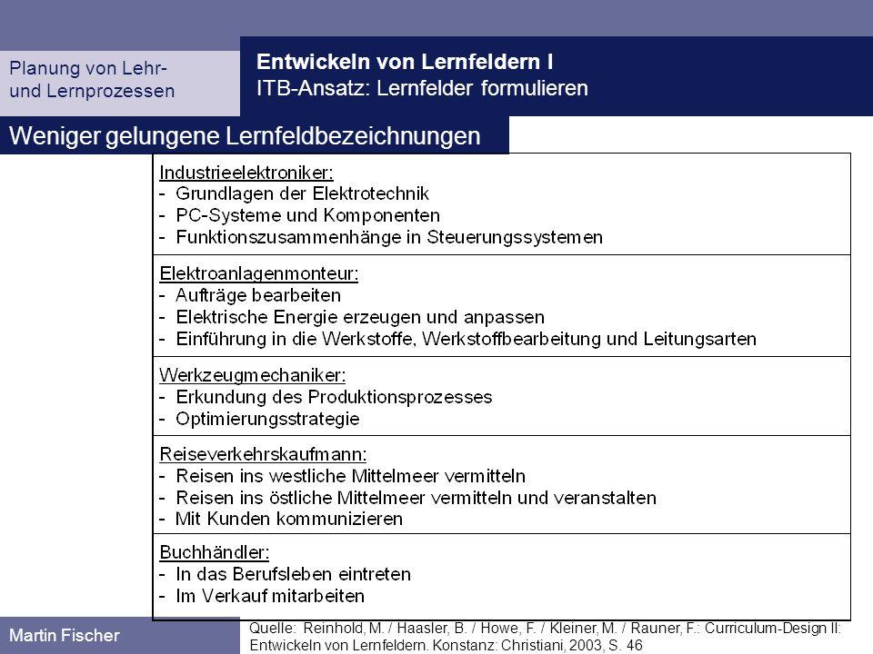 Entwickeln von Lernfeldern I ITB-Ansatz: Lernfelder formulieren Planung von Lehr- und Lernprozessen Martin Fischer Weniger gelungene Lernfeldbezeichnu