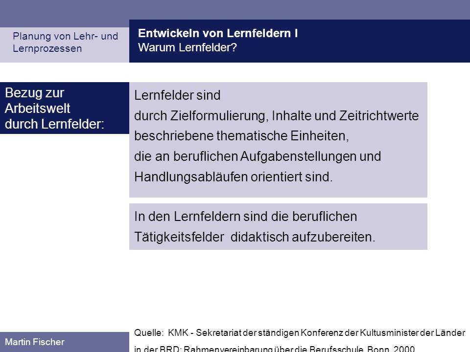 Entwickeln von Lernfeldern I Warum Lernfelder? Planung von Lehr- und Lernprozessen Martin Fischer Quelle: KMK - Sekretariat der ständigen Konferenz de