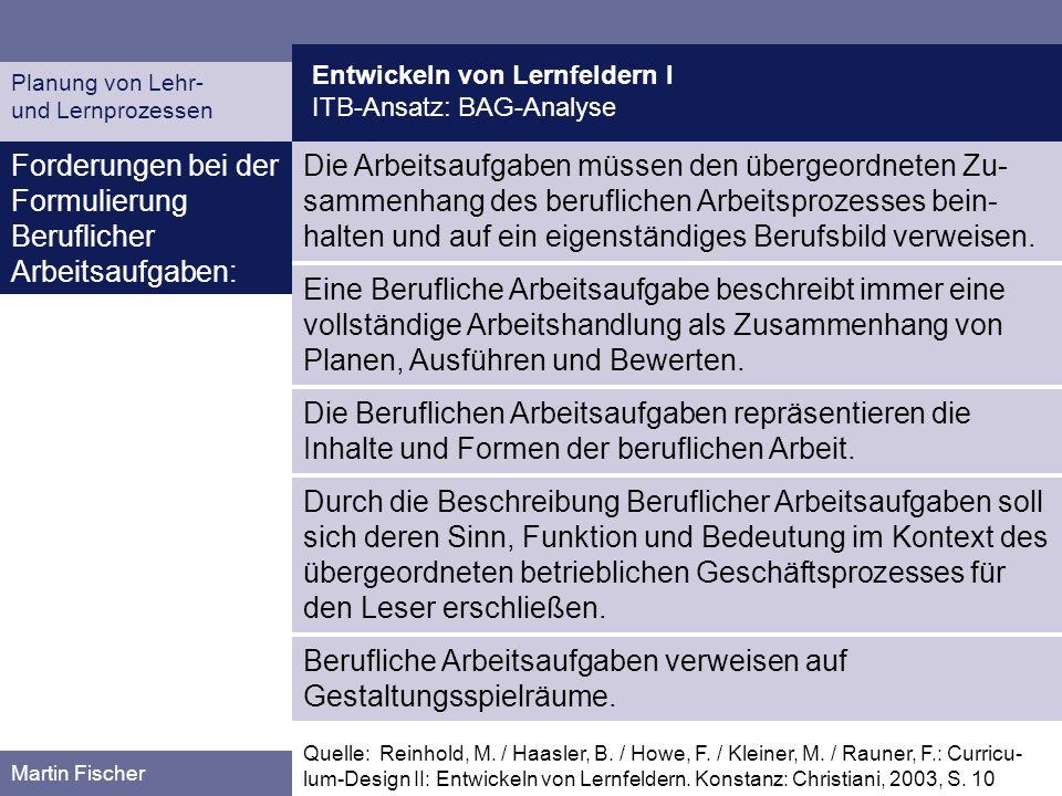 Entwickeln von Lernfeldern I ITB-Ansatz: BAG-Analyse Planung von Lehr- und Lernprozessen Martin Fischer Die Arbeitsaufgaben müssen den übergeordneten