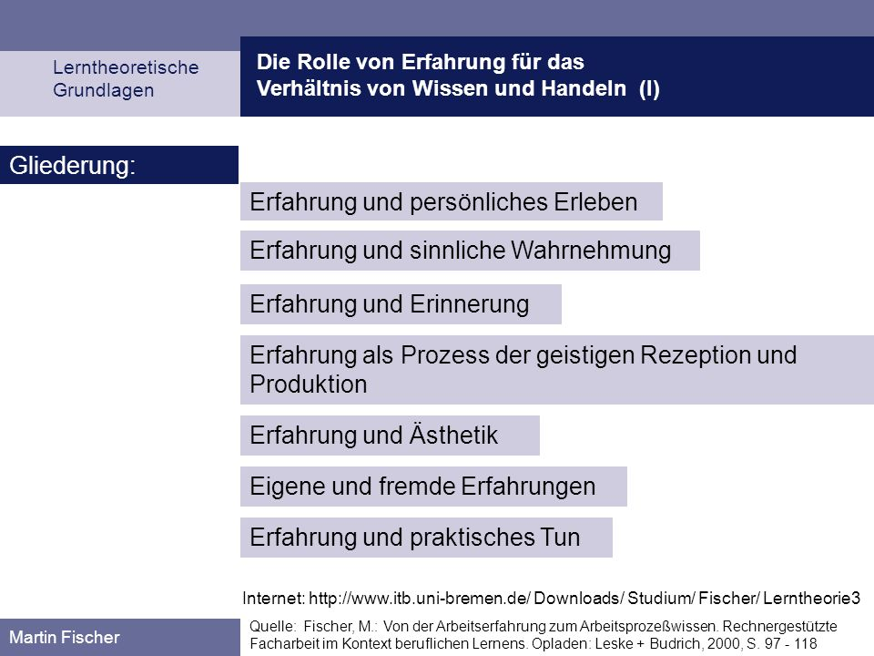Die Rolle von Erfahrung für das Verhältnis von Wissen und Handeln (I) Lerntheoretische Grundlagen Martin Fischer Quelle: Fischer, M.: Von der Arbeitse