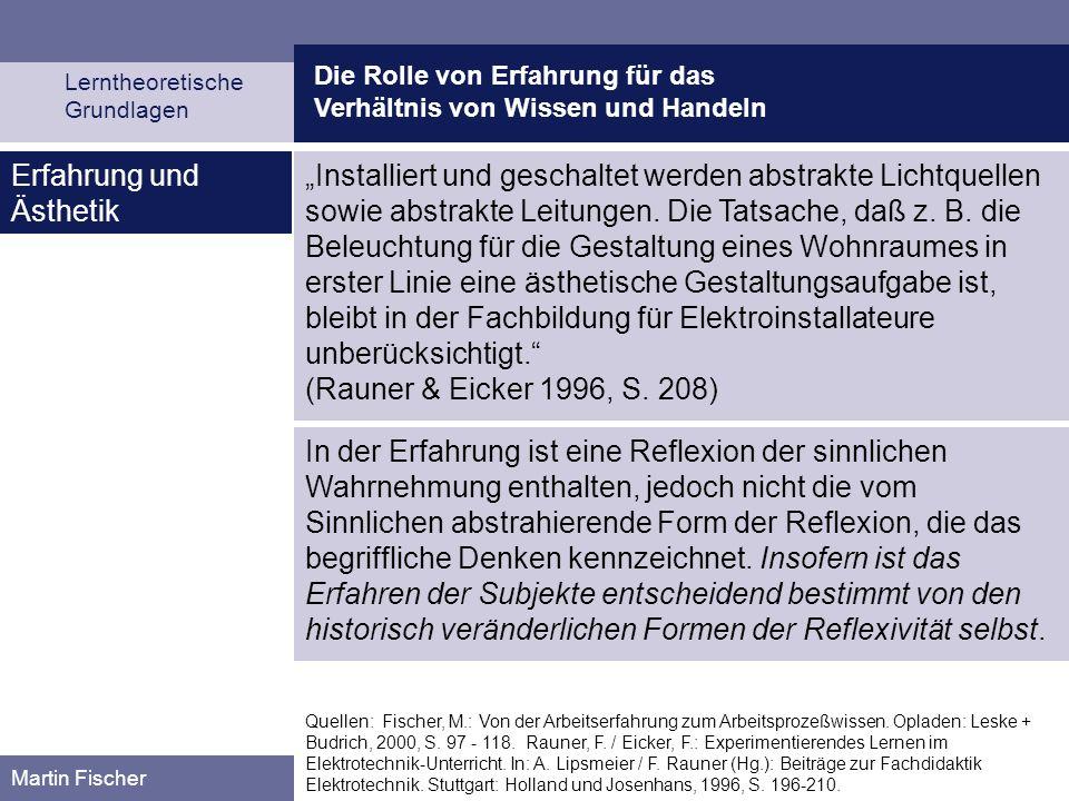 Die Rolle von Erfahrung für das Verhältnis von Wissen und Handeln Lerntheoretische Grundlagen Martin Fischer Quellen: Fischer, M.: Von der Arbeitserfa