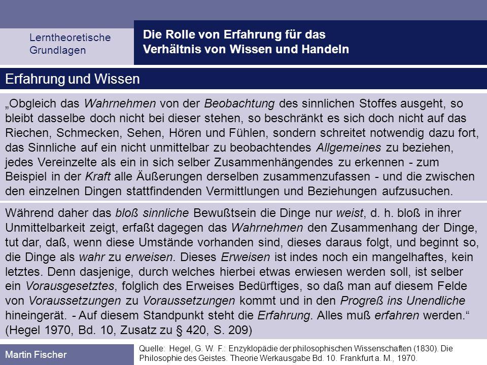 Die Rolle von Erfahrung für das Verhältnis von Wissen und Handeln Lerntheoretische Grundlagen Martin Fischer Quelle: Hegel, G. W. F.: Enzyklopädie der