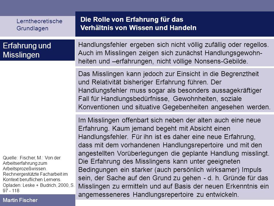 Die Rolle von Erfahrung für das Verhältnis von Wissen und Handeln Lerntheoretische Grundlagen Martin Fischer Quelle: Fischer, M.: Von der Arbeitserfah