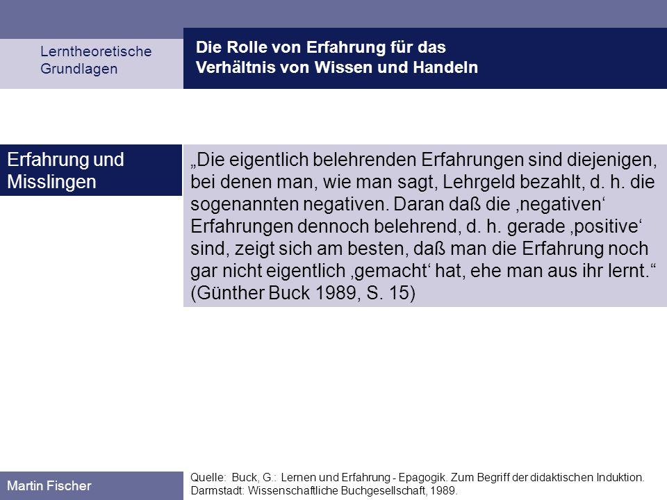 Die Rolle von Erfahrung für das Verhältnis von Wissen und Handeln Lerntheoretische Grundlagen Martin Fischer Quelle: Buck, G.: Lernen und Erfahrung -