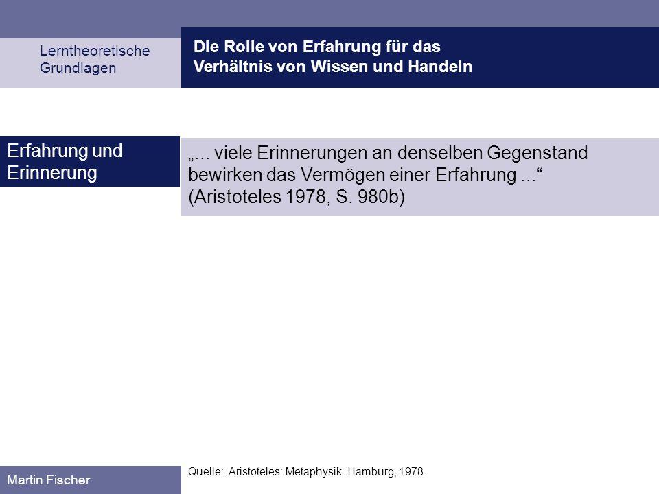 Die Rolle von Erfahrung für das Verhältnis von Wissen und Handeln Lerntheoretische Grundlagen Martin Fischer Quelle: Aristoteles: Metaphysik. Hamburg,