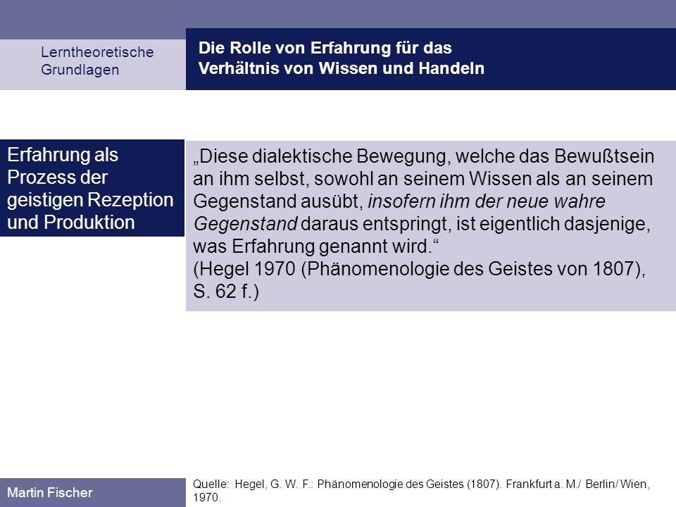 Die Rolle von Erfahrung für das Verhältnis von Wissen und Handeln Lerntheoretische Grundlagen Martin Fischer Quelle: Hegel, G. W. F.: Phänomenologie d