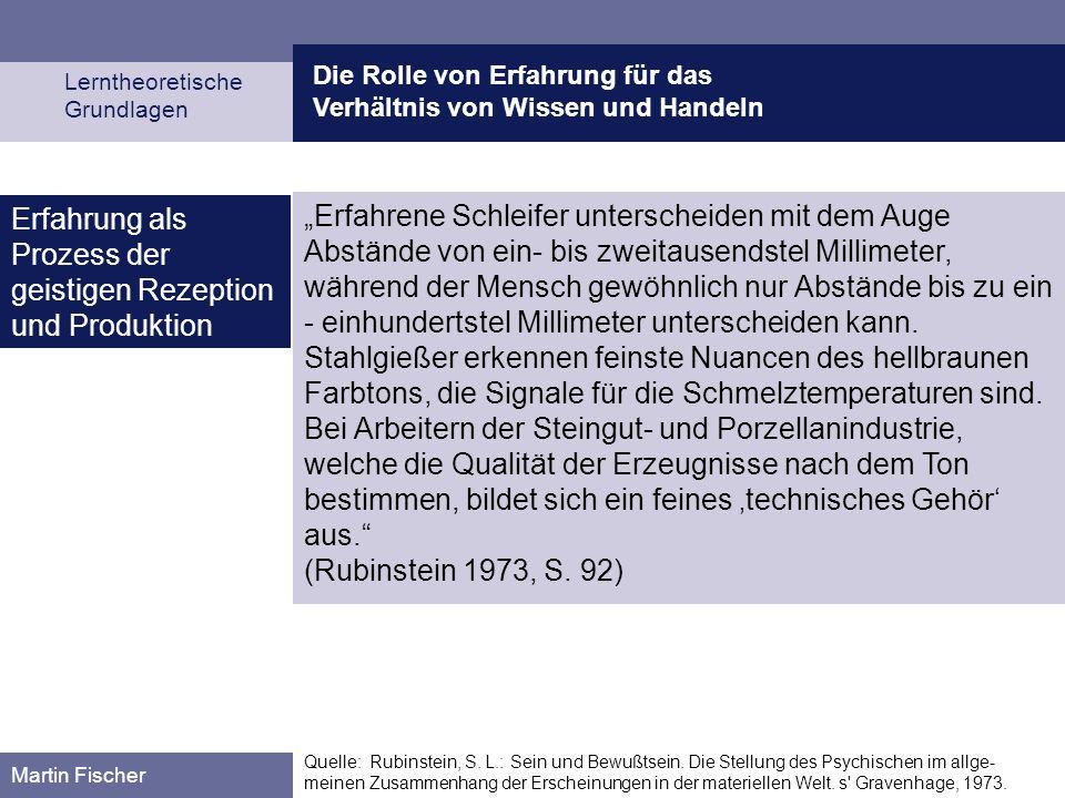Die Rolle von Erfahrung für das Verhältnis von Wissen und Handeln Lerntheoretische Grundlagen Martin Fischer Quelle: Rubinstein, S. L.: Sein und Bewuß