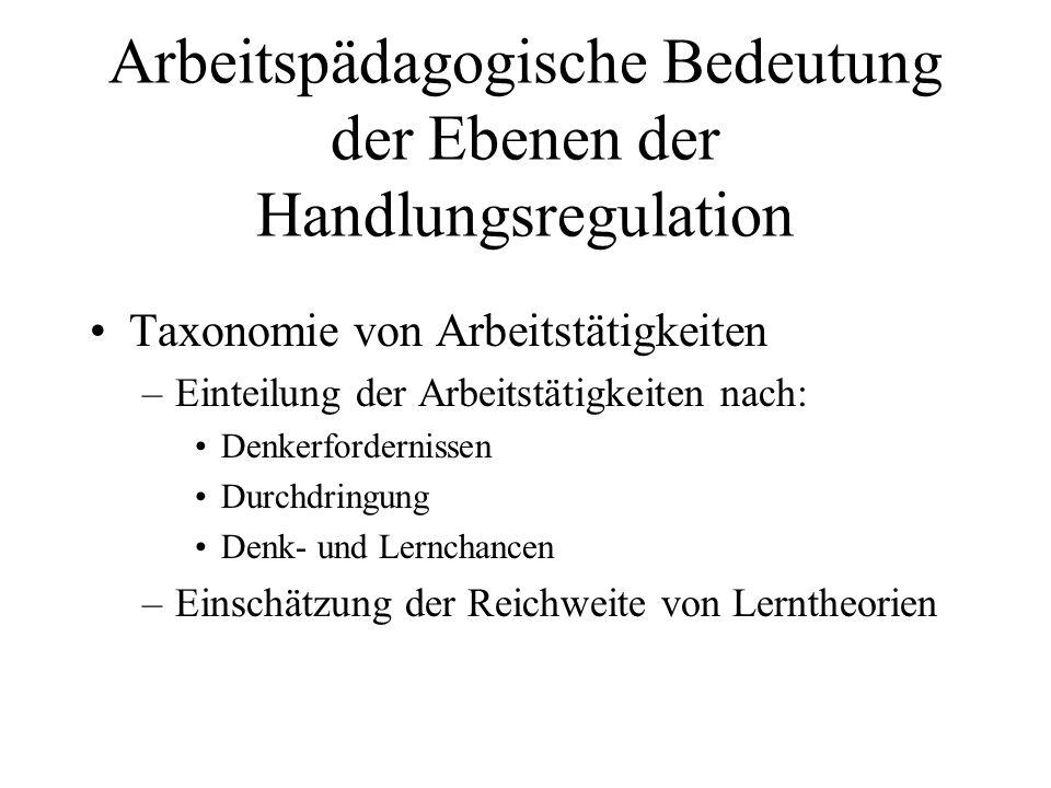 Arbeitspädagogische Bedeutung der Ebenen der Handlungsregulation Taxonomie von Arbeitstätigkeiten –Einteilung der Arbeitstätigkeiten nach: Denkerforde