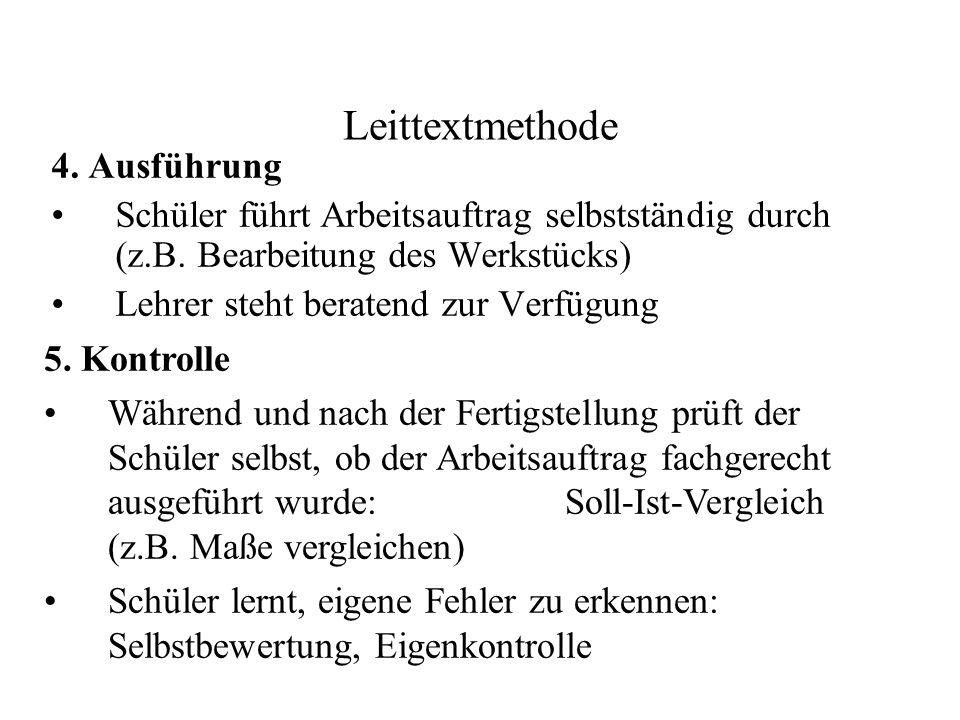 Leittextmethode 4. Ausführung Schüler führt Arbeitsauftrag selbstständig durch (z.B. Bearbeitung des Werkstücks) Lehrer steht beratend zur Verfügung 5