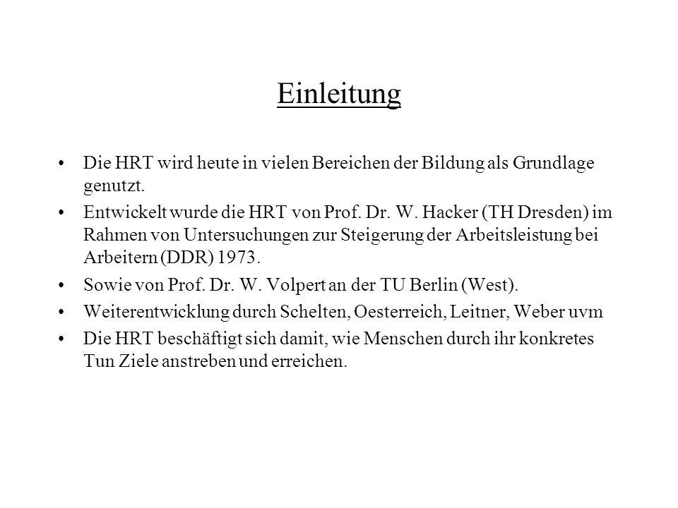 Einleitung Die HRT wird heute in vielen Bereichen der Bildung als Grundlage genutzt. Entwickelt wurde die HRT von Prof. Dr. W. Hacker (TH Dresden) im