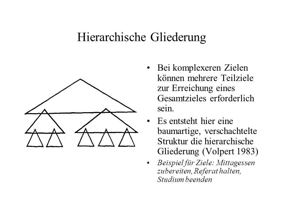 Hierarchisch-sequentielle Handlungsorganisation Durch Kombination der vorherigen Modelle entsteht die hierarchisch- sequentielle Handlungsorganisation.
