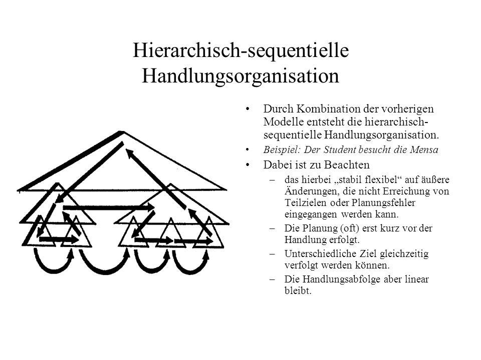 Hierarchisch-sequentielle Handlungsorganisation Durch Kombination der vorherigen Modelle entsteht die hierarchisch- sequentielle Handlungsorganisation