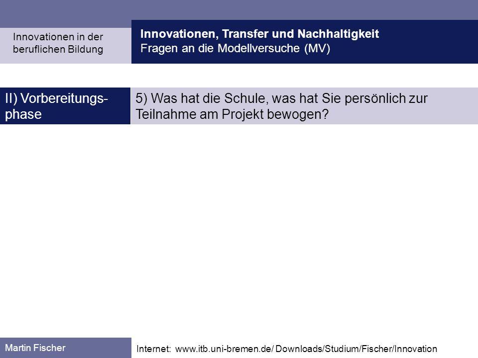 Innovationen, Transfer und Nachhaltigkeit Fragen an die Modellversuche (MV) Martin Fischer Internet: www.itb.uni-bremen.de/ Downloads/Studium/Fischer/Innovation II) Vorbereitungs- phase 5) Was hat die Schule, was hat Sie persönlich zur Teilnahme am Projekt bewogen.