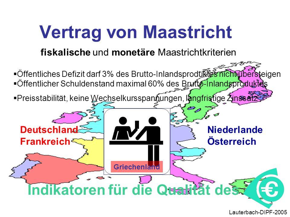 3 Lauterbach-DIPF-2005 Vertrag von Maastricht fiskalische und monetäre Maastrichtkriterien Öffentliches Defizit darf 3% des Brutto-Inlandsproduktes ni