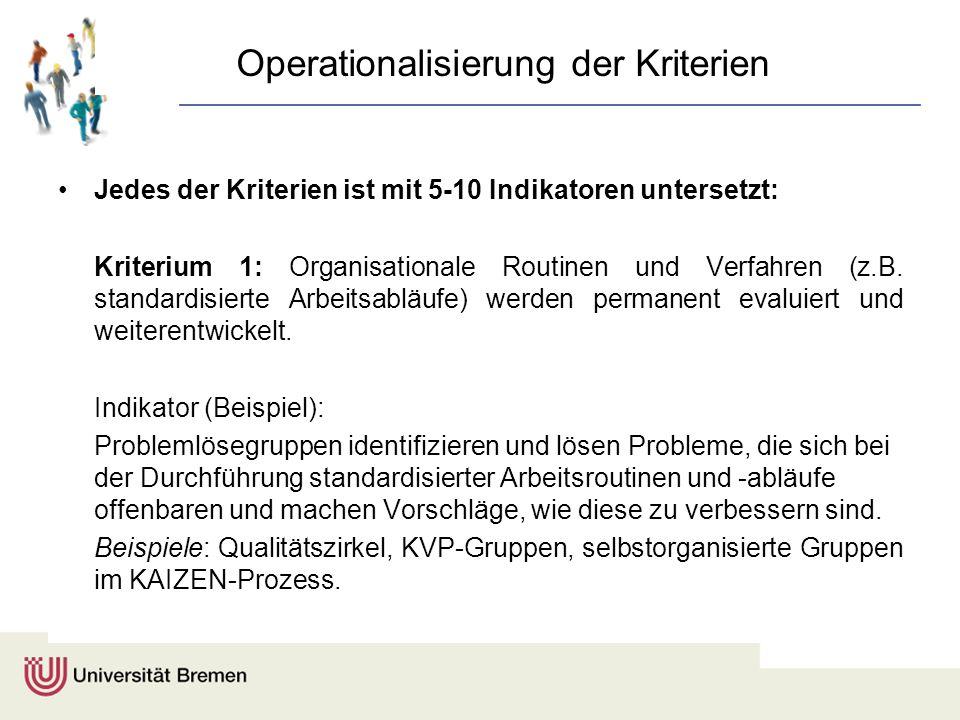 Operationalisierung der Kriterien Jedes der Kriterien ist mit 5-10 Indikatoren untersetzt: Kriterium 1: Organisationale Routinen und Verfahren (z.B. s