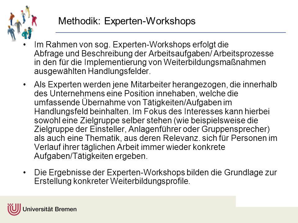 Methodik: Experten-Workshops Im Rahmen von sog. Experten-Workshops erfolgt die Abfrage und Beschreibung der Arbeitsaufgaben/ Arbeitsprozesse in den fü