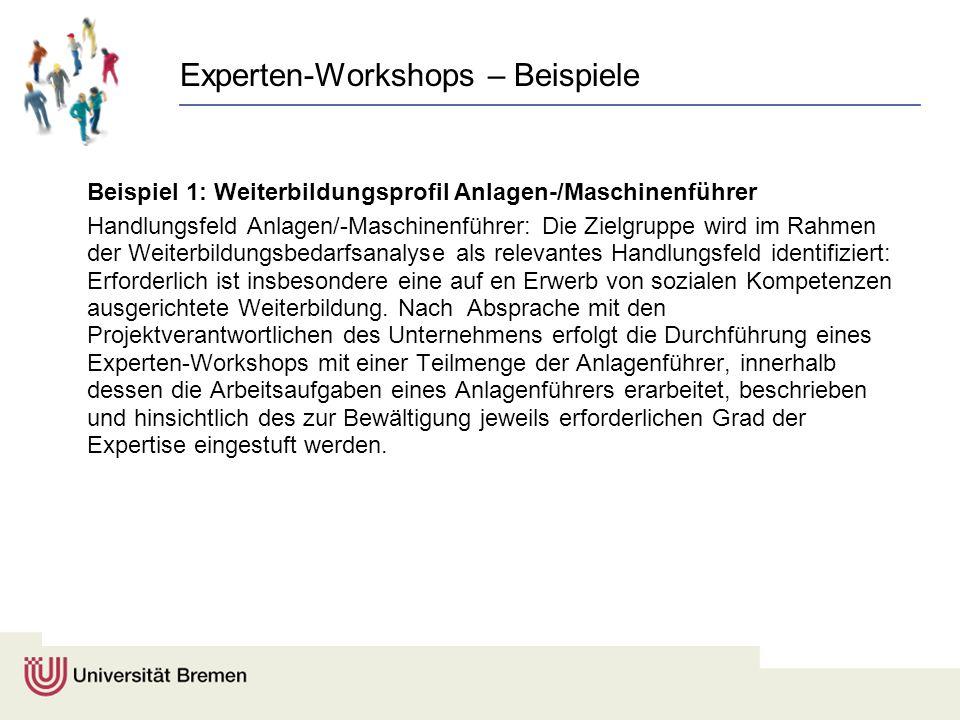 Experten-Workshops – Beispiele Beispiel 1: Weiterbildungsprofil Anlagen-/Maschinenführer Handlungsfeld Anlagen/-Maschinenführer: Die Zielgruppe wird i