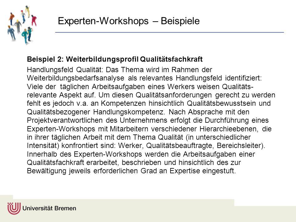Experten-Workshops – Beispiele Beispiel 2: Weiterbildungsprofil Qualitätsfachkraft Handlungsfeld Qualität: Das Thema wird im Rahmen der Weiterbildungs