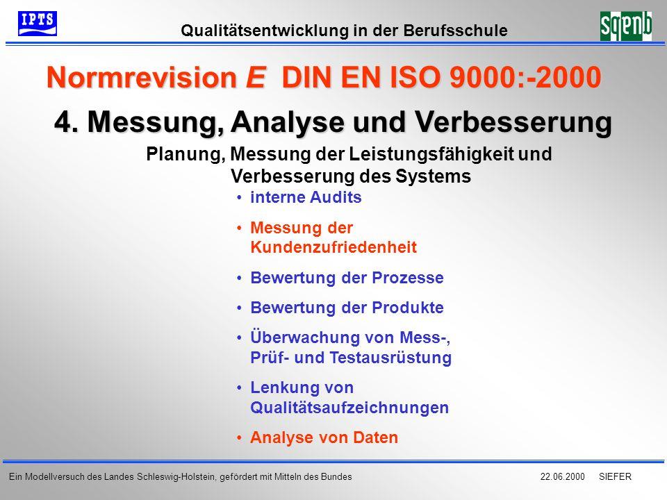 22.06.2000 SIEFER Qualitätsentwicklung in der Berufsschule Ein Modellversuch des Landes Schleswig-Holstein, gefördert mit Mitteln des Bundes 4. Messun
