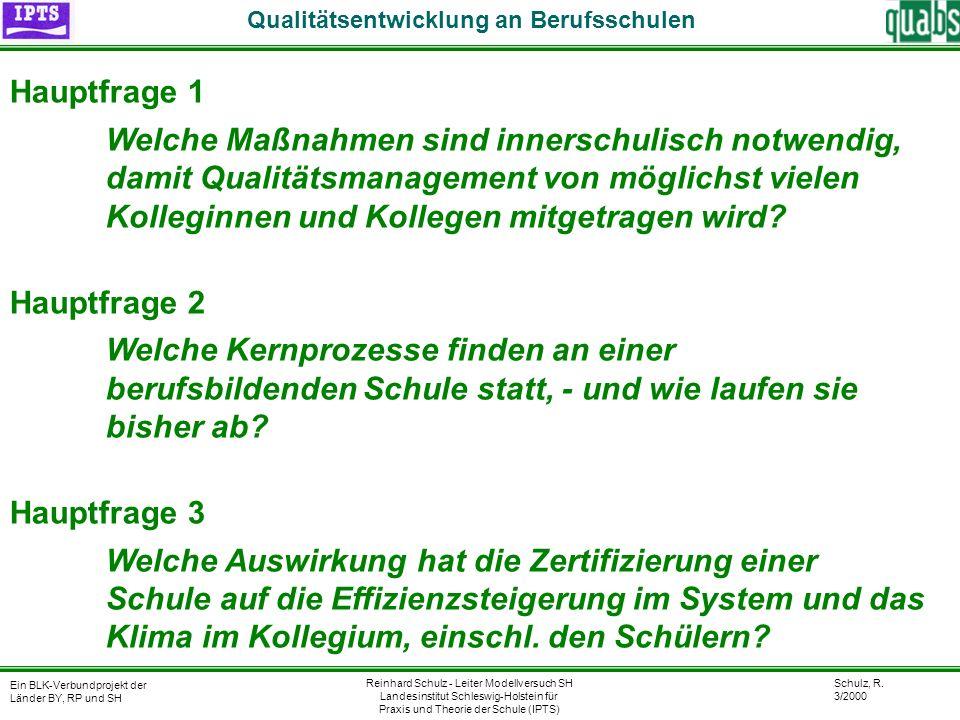 Schulz, R. 3/2000 Ein BLK-Verbundprojekt der Länder BY, RP und SH Qualitätsentwicklung an Berufsschulen Reinhard Schulz - Leiter Modellversuch SH Land
