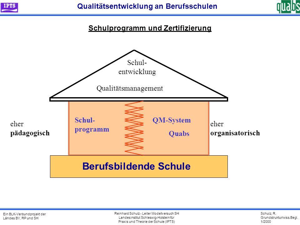 Schulz, R. Grundstruktur/wiss.Begl. 1/2000 Ein BLK-Verbundprojekt der Ländes BY, RP und SH Qualitätsentwicklung an Berufsschulen Reinhard Schulz - Lei