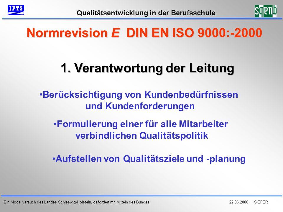 22.06.2000 SIEFER Qualitätsentwicklung in der Berufsschule Ein Modellversuch des Landes Schleswig-Holstein, gefördert mit Mitteln des Bundes Normrevis